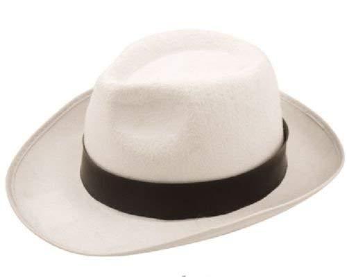 AL CAPONE Erwachsene Weiß Gangster Michael Jackson Trilby Fedora Hut - Filzhut Style Velour Hut mit Schwarz Schleife Band ()