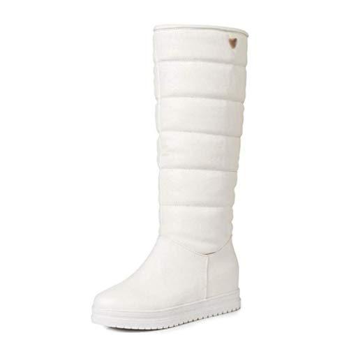 Gf-20191112 Go first Damen Winter Schneeschuhe Plüsch Pelz in Fersen Warme Schuhe Kniehohe Stiefel runde Zehen Schuhe (Color : Weiß, Size : 35 EU) -