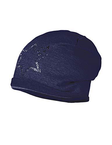 maximo Mädchen Beanie mit Stern aus Studs Mütze, Blau (Navy 48), (Herstellergröße: 55/57)