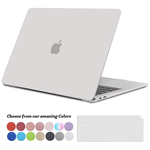 TECOOL Hülle für 2018 MacBook Air 13 Zoll Retina, Plastik Hartschale Matt Schutzhülle Case & Transparent Tastaturschutz für Neuen Apple MacBook Air 13,3 Zoll Touch ID (Modell:A1932)-Klar