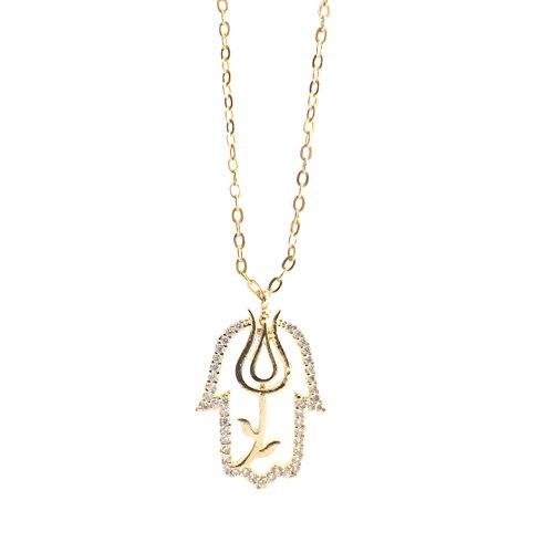 Remi Bijou Halskette Kette + Anhänger - Fatimas Hand Tulpe Zirkonia Strass Lale Gold Farbe