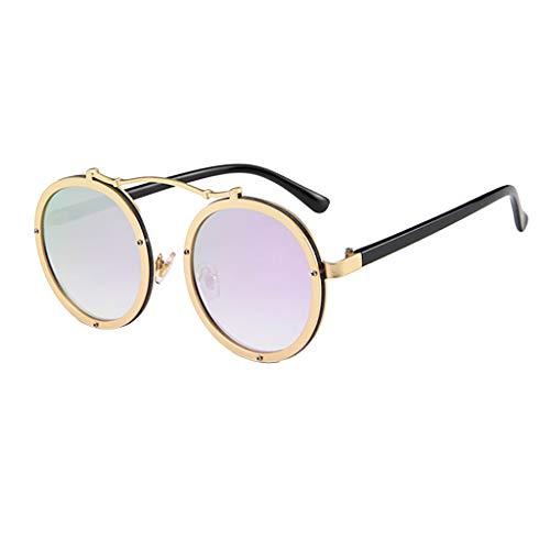 CixNy Damen Herren Mode Polarisierte Sonnenbrille, Unisex Rund Rahmen Hochwertige Weinlese Brille Oversize 100% UV-Schutz Objektiv Spiegel