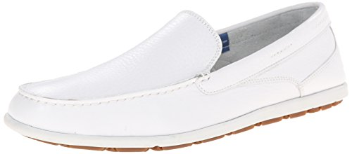 Rockport Mens Bennett Lane 3 Venetian Slip-On Loafer White Washable Leather