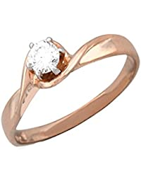 Silvernshine 0.45Cts Round Cut Sim Diamond Solitaire Twist Engagement Ring 14KT White Gold PL