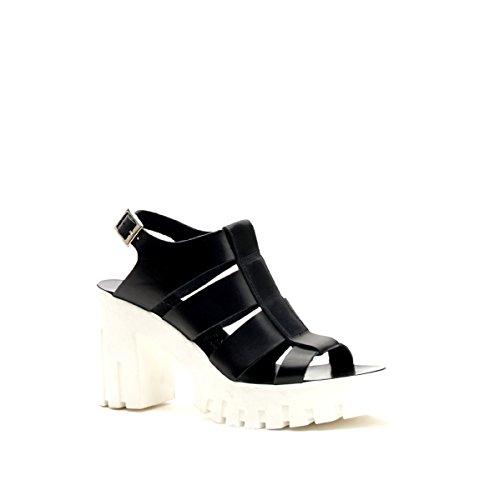 Cafè Noir CAF Noir HR422 les Chaussures Noires Femme Sandales Sangle de Talon Plateaux Nero