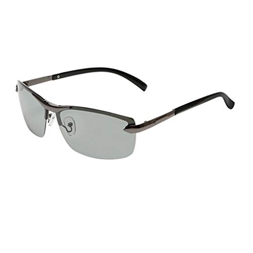 Leluo Polarisierte Sport Sonnenbrille für männer Frauen al-mg metallrahmen sportbrillen automatische verfärbung gläser Laufen Radfahren Angeln Fahren Golf (Color : Gray Frame)