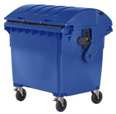 Kunststoff-Großmüllbehälter, nach DIN EN 840 - Volumen 1100 l, Schiebedeckel, Kindersicherung - blau - Abfalltonne Müllcontainer Müllkübel Müllsammler Mülltonne