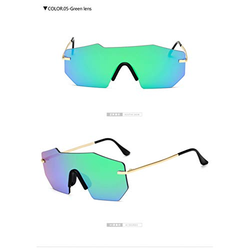 Taiyangcheng Gafas de sol sin montura de las Mujeres de UNA pieza de la lente del Espejo Gafas de sol Mujer Damas Goggle,lente Verde