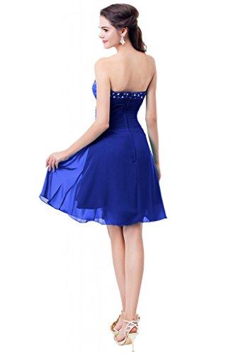 Sunvary Festlich 2015 Neu Falte Chiffon Perlen Kurz Abendkleid Cocktailkleider Royalblau
