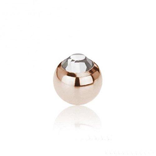 Rosegold Steel - Schraubkugel - Kristall (Piercing Schraubkugel Aufsatz für Hufeisen, Stäbe, Labrets etc. rosé) 1,6 mm | 6 mm | CC - Crystal Clear / Crystal clear