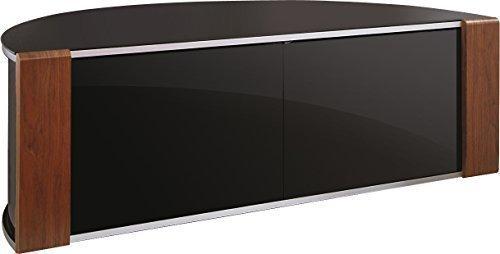 "S&C ZIN552685/BKI Remote Friendly Beam Thru Glass Door Walnut / High Gloss Piano Black with Brushed Aluminium Trim 40""-52"" LCD/Plasma/LED Cabinet TV Stand"
