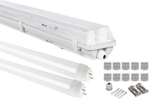 G13 LED Feuchtraumleuchte 2x T8 LED, 20W 1600LM 60cm, IP65 LED Feuchtraumwanneneuchte, LED Wannenleuchte Leuchtstofflampe, Neutralweiss 4000K CRI80 (NEUTRALWEISS)