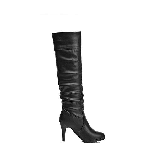 AgooLar Damen Ziehen auf Hoher Absatz Eingelegt Hoch-Spitze Stiefel mit Metalldekoration, Braun, 37