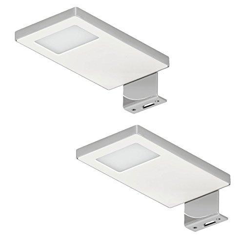 2 Stück - LED Aufbauleuchten Spiegel-Lampen 12V Schrankleuchte 2033 Stahl verchromt - weiß | kaltweiß 4000 K | LED-Möbelleuchte IP44 geprüft & spritzwassergeschützt für Einsatz in Feuchträumen & Badezimmer | Möbelbeschläge von GedoTec®