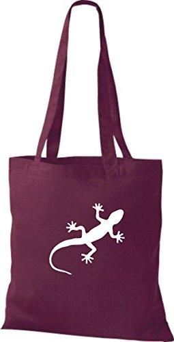 ShirtInStyle Stoffbeutel Gecko Echse Leguan Baumwolltasche Beutel, diverse Farbe burgundy