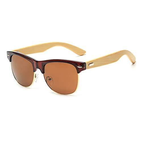 Taiyangcheng Bambus Sonnenbrille Hohe Qualität Halbrandlose Cat Eye Holz Sonnenbrille Frauen Männer Original Holz Sonnenbrille,Tee Tee