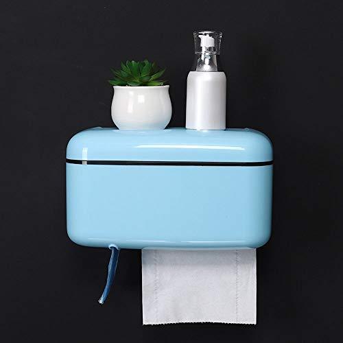 Slivy Einfache wasserdichte Toilettenpapierhalter Box, ABS Badezimmer Papierrollenhalter mit Telefonablage, Muti-Funktion Adhesive Tissue Box Wandhalterung, Küche Wohnzimmer (Color : Blue)