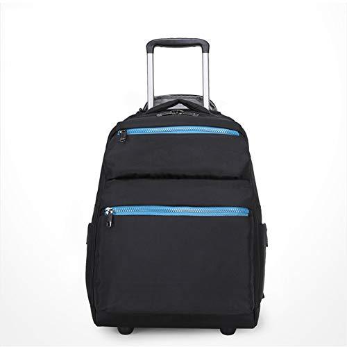 WZZJ Rollende Rucksack, 16-Zoll-Notebook Wasserdichtes College-Räder für Reise, Carryon Trolley-Gepäck-Koffer Compact School Student-Computer-Beutel für Männer Business Bag