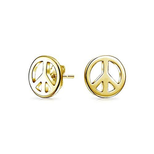 Winzige World Friedenszeichen Ohrstecker Für Damen Für Jugendlich 14 K Vergoldet Sterling Silber 925