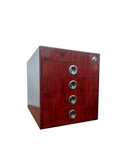 Ordner-Ablagesysteme HongLianRiven Office Organizer Aktenschränke Aktenhalter A4 Holz Datenschrank Schließfach Schublade Desktop-Schrank Aktenschrank Aufbewahrungsbox Verriegeln - Mahagoni-office-schrank