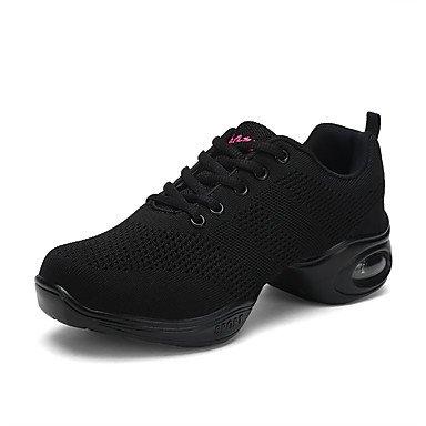 Wuyulunbi @ Donnes Dance Sneakers Tulle Sneaker Pratique Face À Plat Creux Talon Blanc Noir Rouge 1 Us8 / Eu39 / Uk6 / Cn39