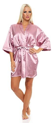 Damen Morgenmantel kurzer Kimono aus Satin Bademantel Nachtwäsche Satinoptik Nachtmantel Seidenrobe Heide M