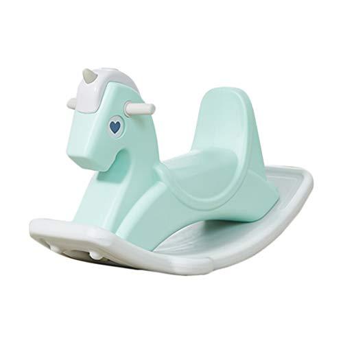 Sedia a dondolo di plastica per bambini a dondolo casa soggiorno cavallo a dondolo giocattolo a dondolo miglior regalo ( color : green , size : 67.5*36.5*53cm )
