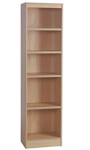Home Office Furniture UK Tall Narrow Bookcase Bookshelf Files Cabinet, Wood, Beech, Wood Grain Profile