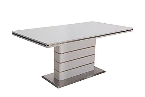 Table de salle à manger blanc laqué et acier