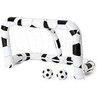 Bestway Summer |52058 - Porta Calcio Gonfiabile da Giardino con 2 Palloni , Bianco/Nero, 213 x 122 x 137 cm