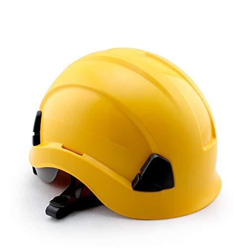 Yamyannie-Sports ABS Arbeitsversicherung Baustelle BAU Schutzhelm Außenlüftung Klettern Kletterhelm Antikollisionsisolationskappe Fahrradhelme (Farbe : Gelb, Größe : Free Size)