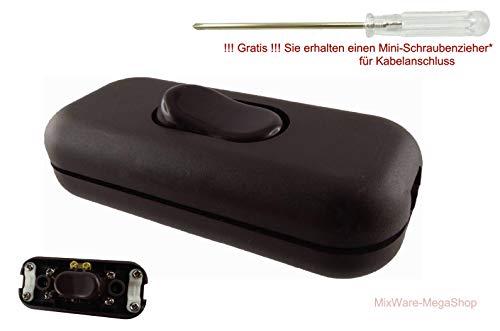 Schnur-Zwischenschalter mit zugentlastungen, echten 2-polig, mit Schraubkontakten, mit Schraubgehäuse, 6A 250V, Paßt für LED (Niedervolt) oder 230V (Hochvolt) Ein/Aus (Braun)