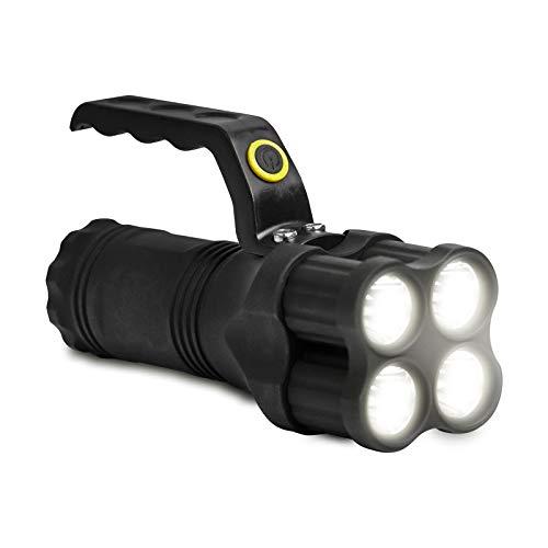 Eaxus®️ LED Handstrahler/Taschenlampe mit Griff. ☀️ Suchstrahler/Arbeitsleuchte mit sehr hoher Leuchtkraft. Bis zu 200 Meter Reichweite, 3 Leuchtmodi, 8-10 Stunden Betriebszeit.