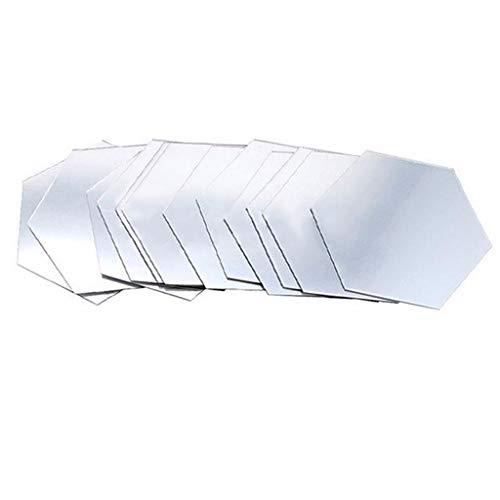 CAOQAO 12 Pezzi Fai da Te 3D Specchio Esagonale Vinile Staccabile Wall Sticker Decorazione, Dimensioni: 46 * 40 * 23mm, Decorazione della casa