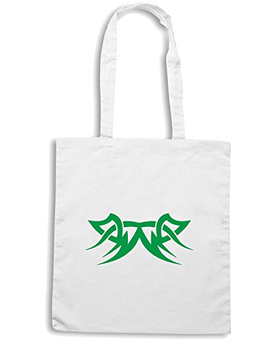 T-Shirtshock - Borsa Shopping FUN0443 2270 tribal sticker design 02 80787 Bianco