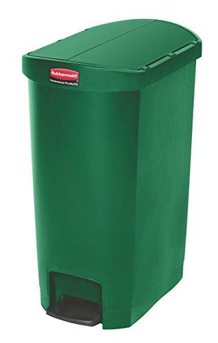 Rubbermaid Commercial 1883585 Slim Jim Step-On Wastebasket, Resin, End Step, 50 L - Green