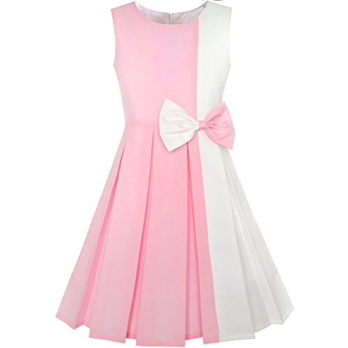 KY76 Girls Dress Color Block Contrast Bow Tie Pink White Party Age 10 Years