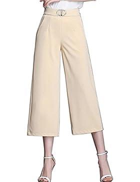 ZhuiKunA Mujer Pantalones Cropped Anchos Talle Alto Ancho Pierna Elegante