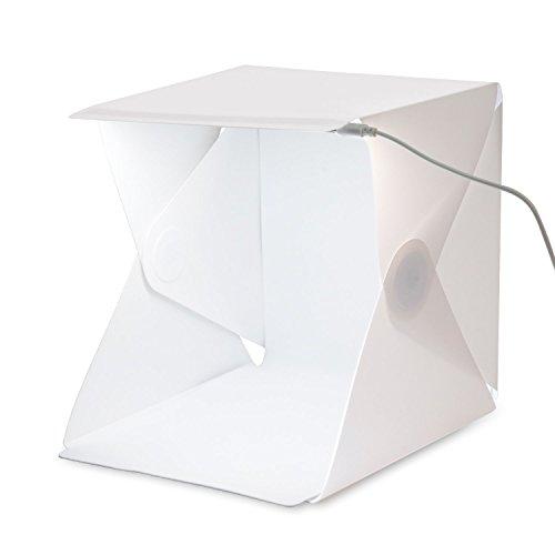 Amzdeal Lichtzelt mit Beleuchtung 40x40x40cm Fotostudio mit LED Leuchte inkl. 2 Hintergrund(Weiß, Schwarz)