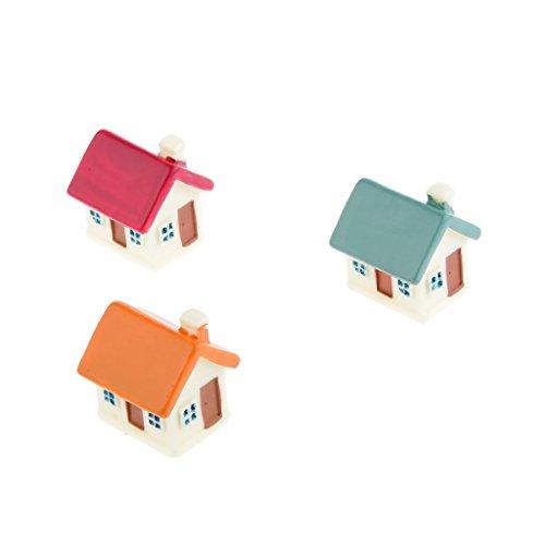 Piccola Casa In Miniatura Con Le Finestre Porta Micro Paesaggio Della Decorazione Artigianale Set Di 3
