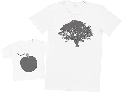 Zarlivia Clothing Tree and Apple - Passende Vater Baby Geschenkset - Herren T-Shirt & Baby T-Shirt/Baby Top - Weiß - S & 6-12 - Apple-weiß-kleidung