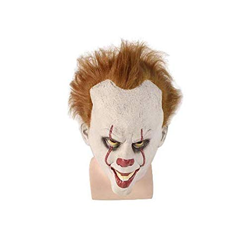 KX-QIN Horror Clown Maske, Halloween Kostüm Party gruselig beängstigend Dekoration Requisiten, Kostüm Cosplay Requisiten sehr schrecklich