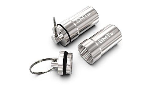 BMTick Luftdicht Tabakdose mit Schlüsselbund Befestigung (große Größe) (1.2mm Eloxiertes Aluminium) (Tabaktasche) 2 Pack! -