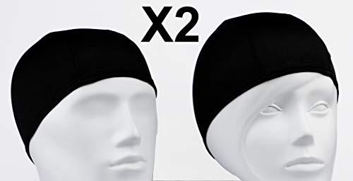 Emerpack 2X Gorro de Baño de Tela/Gorros de Natacion de Poliester para Adulto Hombre o Mujer Unisex/Comodo y Ligero/para Piscina o SPA/Talla Unica Negro