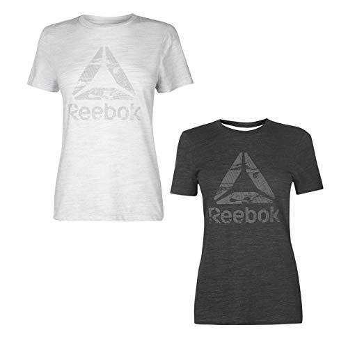 Reebok T-Shirt con Logo Donna Top Maglietta Athleisure Activewear Abbigliamento Sportivo - Nero, UK 8-10 (Piccolo)