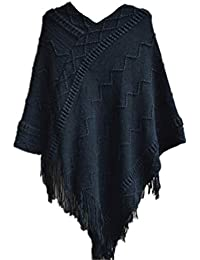 YOGLY Pochon au Crochet Pull avec Frange Veste Poncho Hiver au Chaud Tricoté  Gilets Chandail en 9fff757b8ab9
