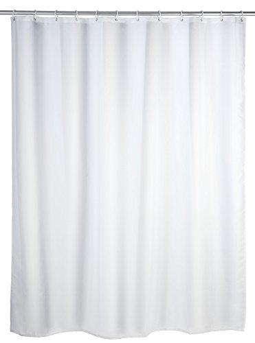 Schimmel Duschvorhang Uni White, Anti-Bakteriell, waschbar, mit 12 Duschvorhangringen, Polyester, 200 x 180 cm, Weiß ()