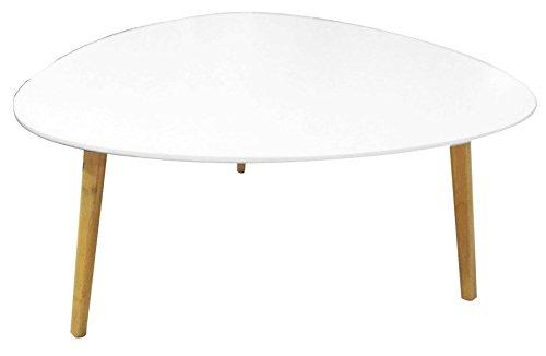 PEGANE Table Basse Zoe Blanc et Bambou, D 80 x H 40,5 cm