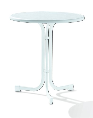 108/W Boulevard-Klapptisch mit mecalit-Pro-Platte Ø 70 cm, Stahlrohrgestell weiß, Tischplatte Marmordekor weiß