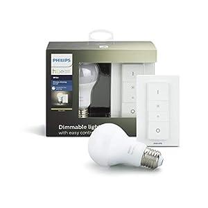 Philips Hue White Wireless Dimming Kit, E27 LED Lampe inkl. Dimmschalter, dimmbar, warmweißes Licht, steuerbar via App, kompatibel mit Amazon Alexa (Echo, Echo Dot)